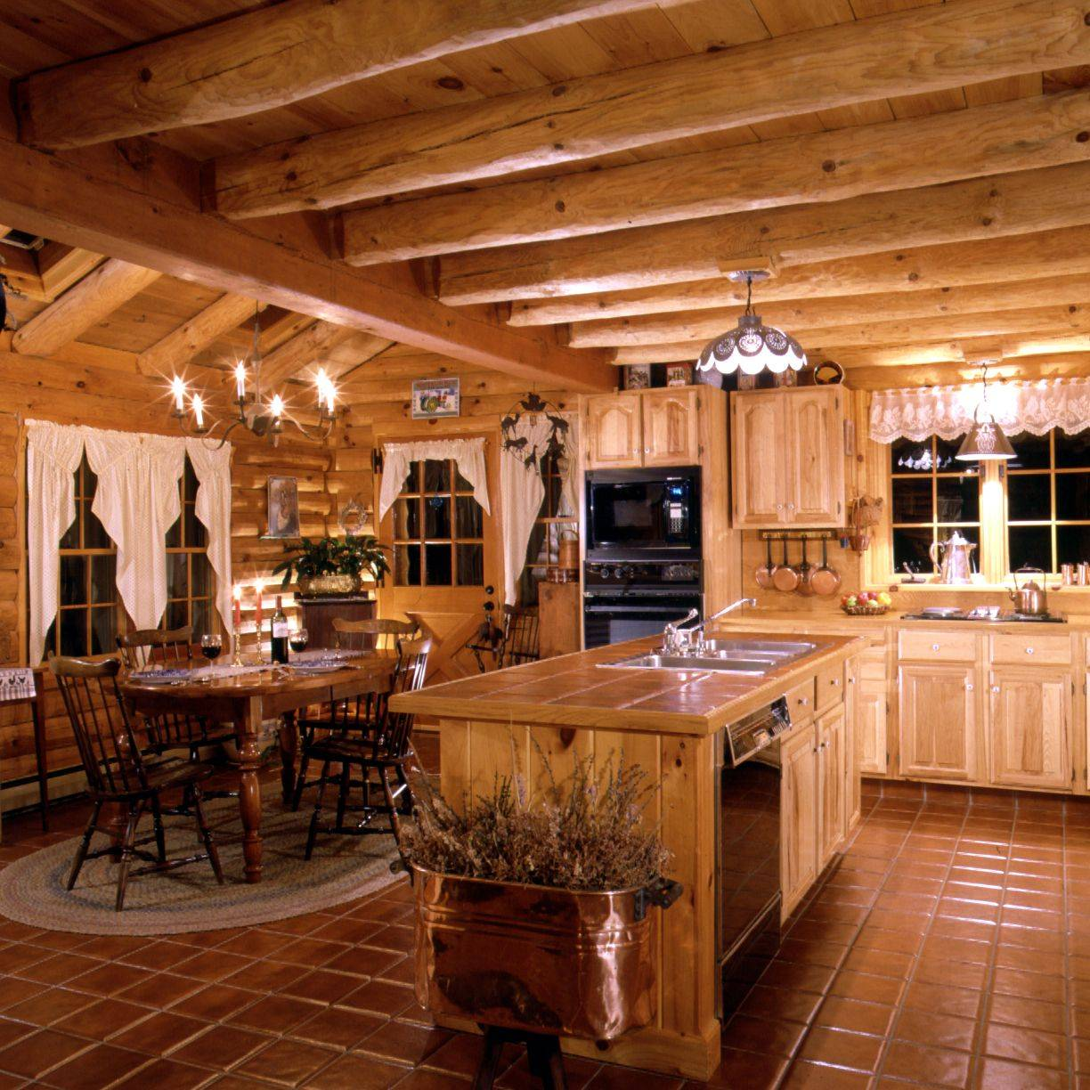 Log Home Kitchen Warmth Tiles Island Counter