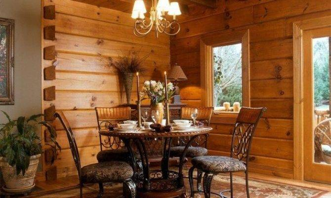 Log Home Traditional Dining Room Other Metro