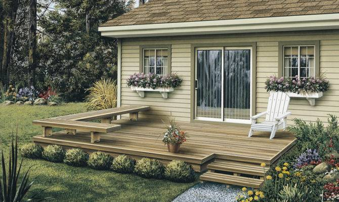 Low Patio Deck Offers Stylish Design Built Shaped Bench