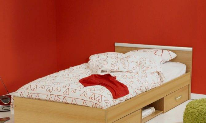 Low Profile Single Bed Design Under Drawer