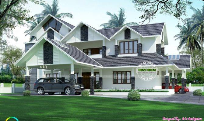 Luxurious Car Porch House Kerala Home Design Floor