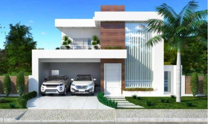 Luxurious Modern Two Storey House Plan Clean Facade