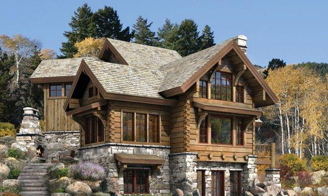 Luxury Home Designs Log Plans Natural Stone Fireplace