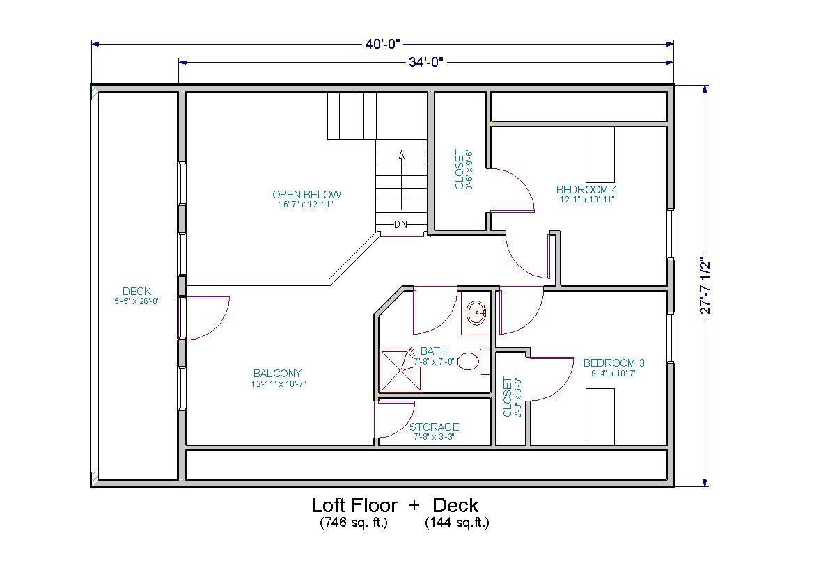 Main Floor Plus Unfinished Loft Decks Both Levels