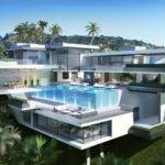 Mansions Sunset Plaza Pro Read Glass Pool Modern Mansion