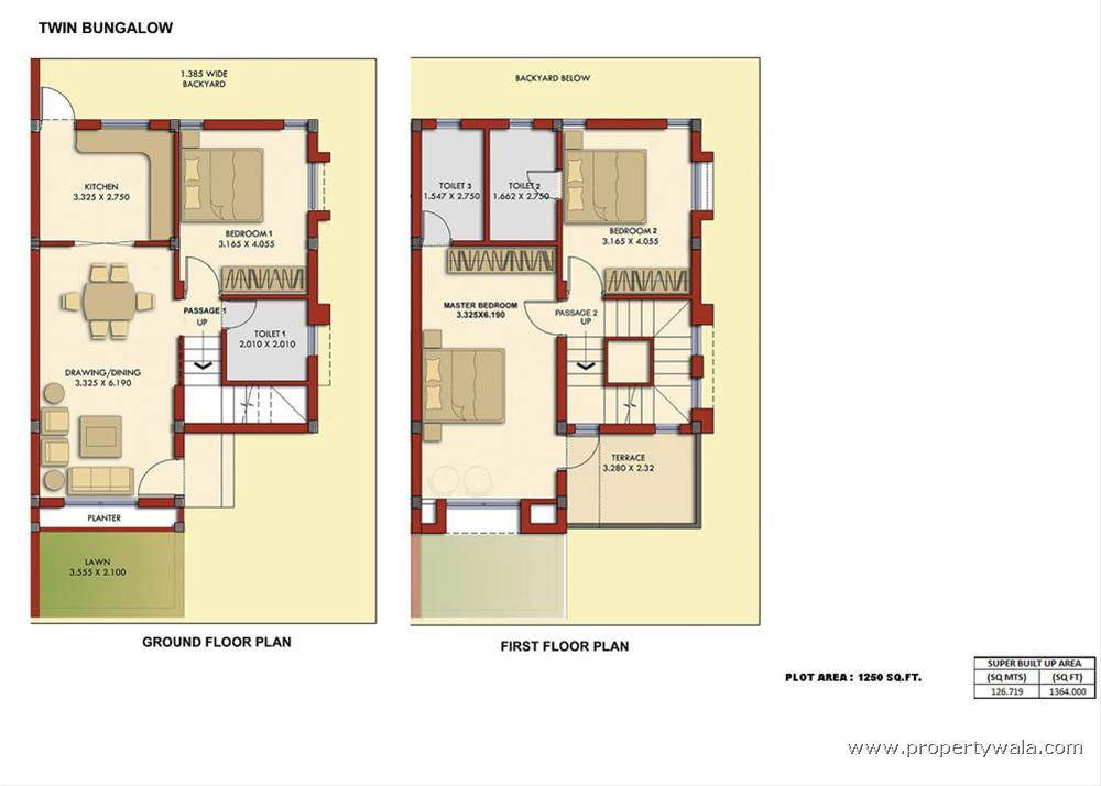 Map Twin Bungalow Floor Plan Flats Row Housing