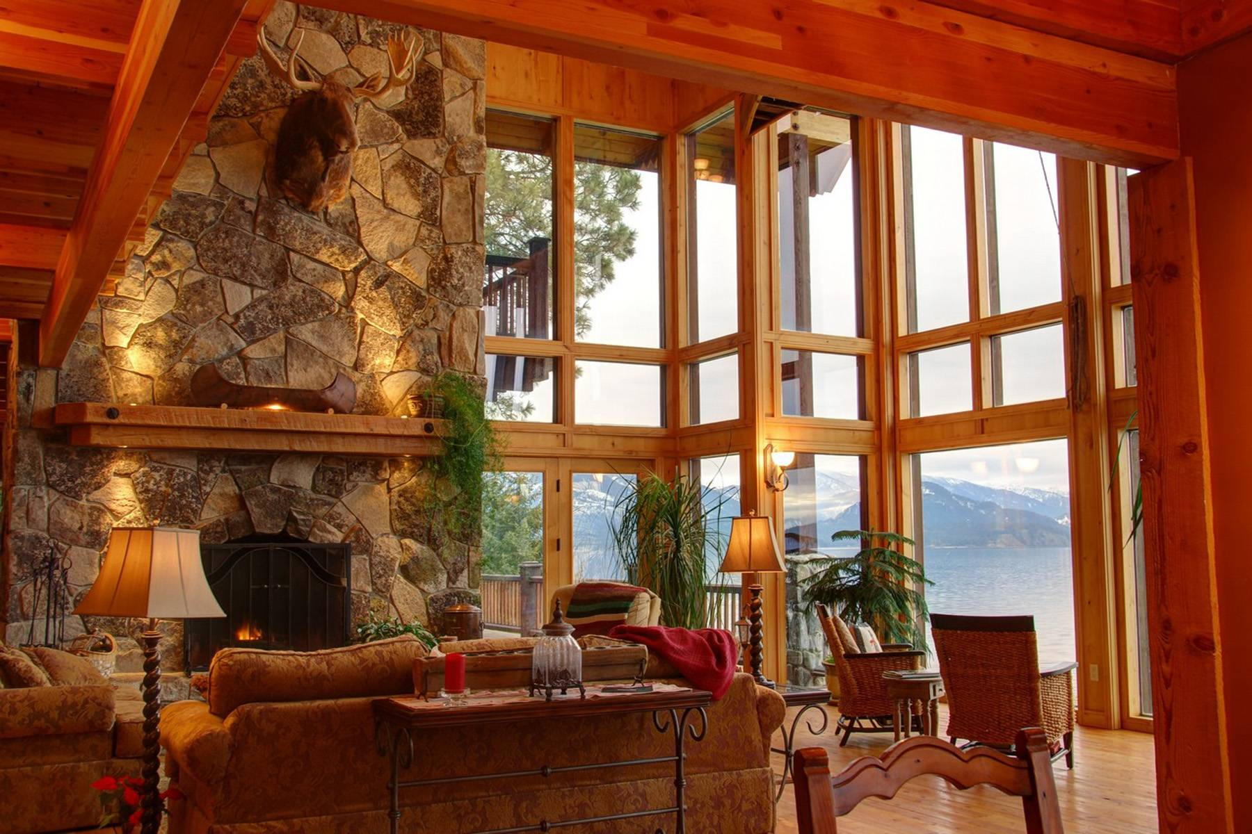 Massive Great Room Floor Ceiling Windows Fireplace