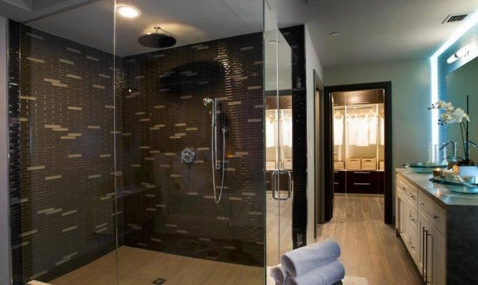Master Bathroom Brown Tiled Shower Pairing