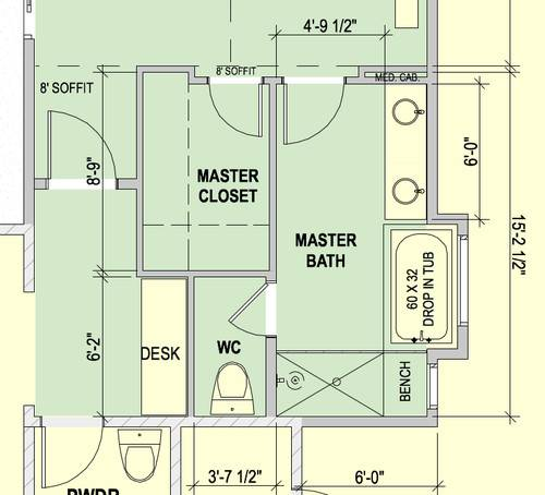 Master Bathroom Water Closet Layout