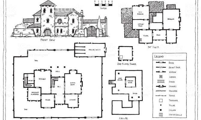 Medieval Italian Spanish Villa Plan Vector Art