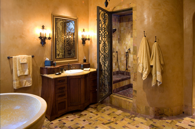 Mediterranean Bathroom Tile Design Modern