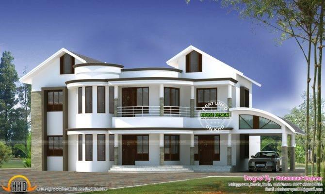 Mixed Roof Modern Home Kerala Design Floor Plans