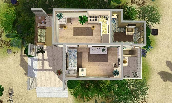 Mod Sims Beach Cabin Small House Single