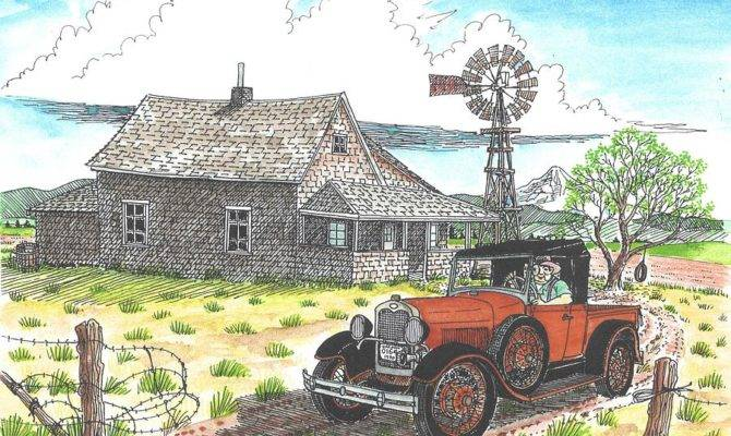 Model Ford Old Farm Drawing Bill Friday