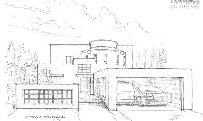 Modern Architecture Drawing House Reaching Out