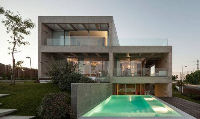 Modern Concrete House Softened Walnut Notes