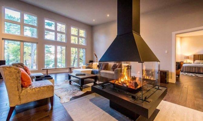 Modern Homes Center Fireplace Custom Cedar House