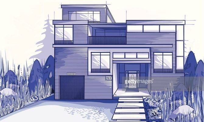Modern House Blue Colors Vector Art Getty