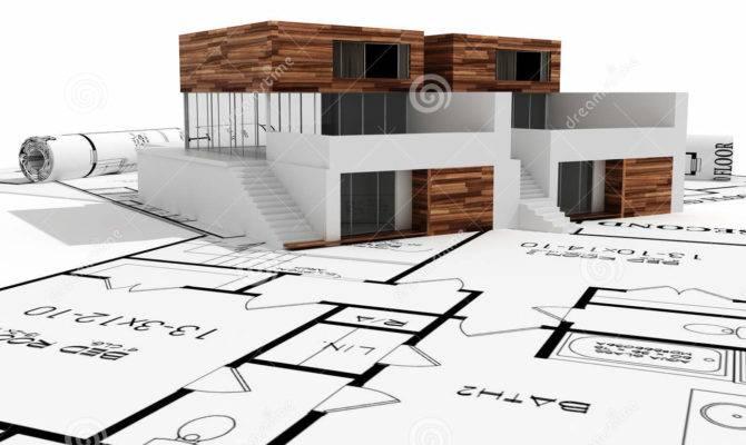 Modern House Blueprints Isolated White