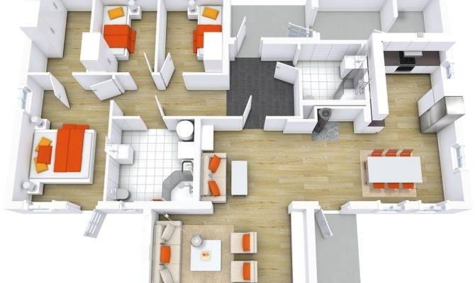 Modern House Floor Plans Roomsketcher Bathroom Tiles