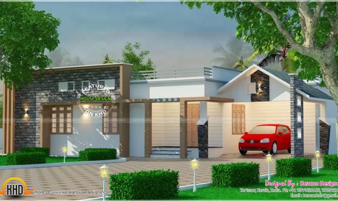 Modern Mix Roof Single Floor Home Kerala Design