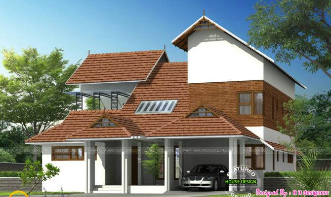 Modern Mix Sloped Roof Home Kerala Design Floor