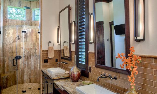 Modern Mountain Lodge Contemporary Bathroom Houston