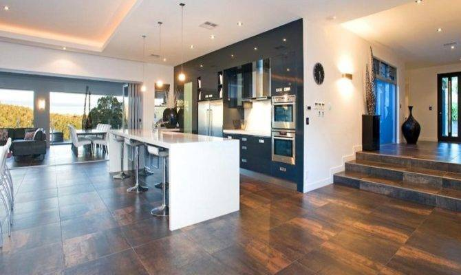 Modern Open Plan Kitchen Design Using Tiles