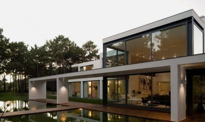 Modern Opens House Beautiful Pool Lake Home Building