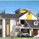 Modern Sloping Roof House Courtyard Kerala Home