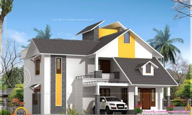 Modern Sloping Roof House Courtyard Kerala Home