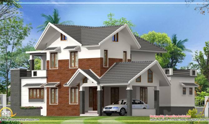 Modern Sloping Roof House Kerala Home
