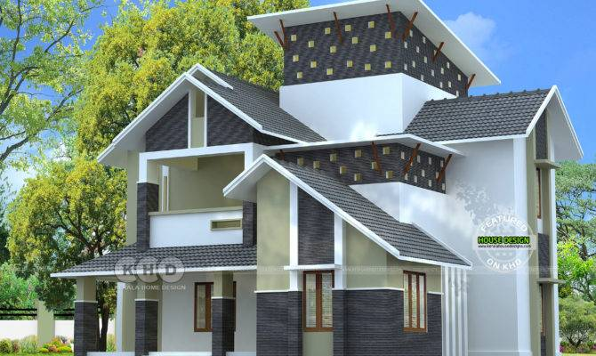 Modern Sloping Roof Square Feet Home Kerala