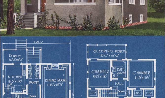 Modern Stucco Foursquare House Plan Bowes