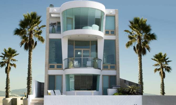 Modern Three Story Beach House Floor Ceiling Windows Palm
