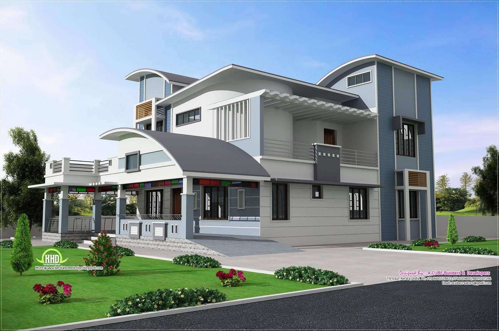 Modern Unique Style Villa Design Kerala Home Floor Plans