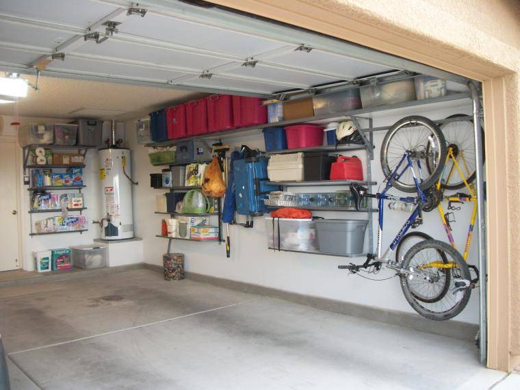 Mountain Bicycles White Wall Red Boxes Garage Storage Systems Ideas