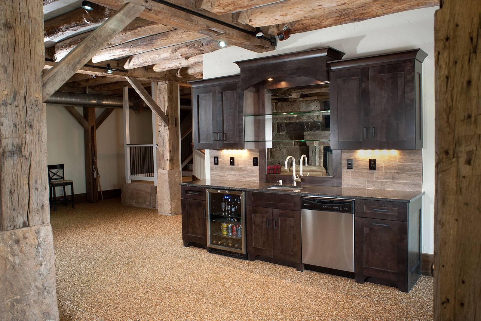 Mullet Cabinet Timber Frame Basement Bar