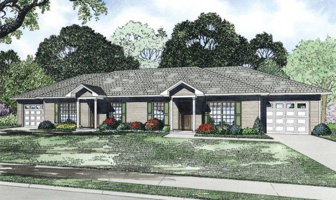 Multi House Plans Ranch Duplex Plan