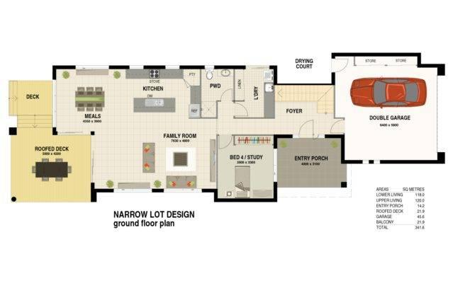 Narrow Lot Design Ground Floor Plan Lindahy