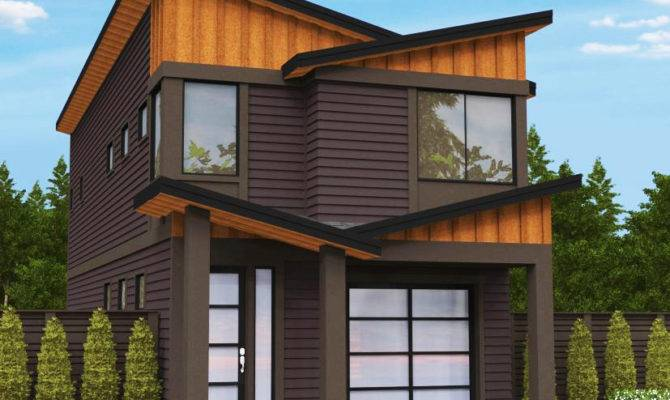Narrow Lot Modern House Plan Architectural