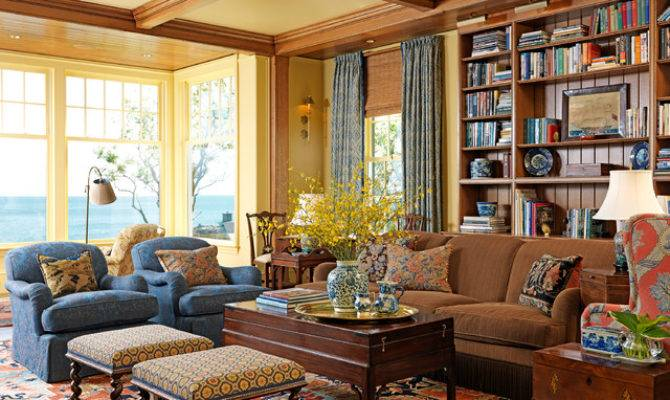 New England Ocean Traditional Living Room