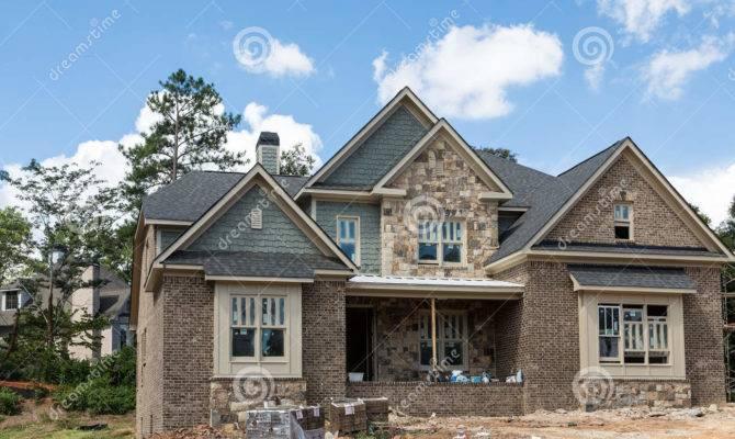 New Home Construction Stone Brick Siding