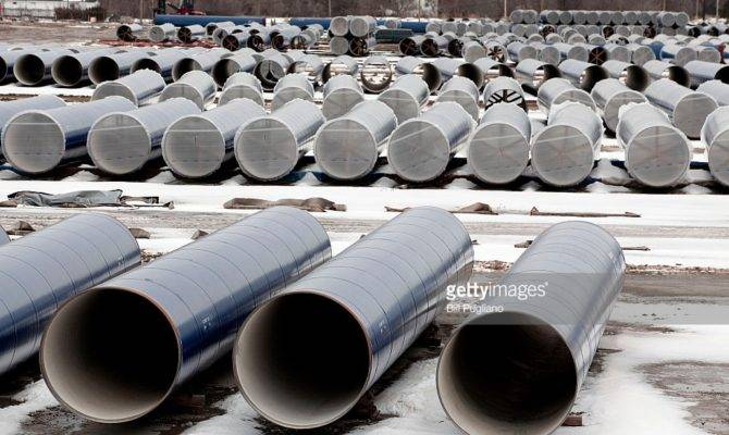 New Water Pipes Awaiting Installation Shown Along Route