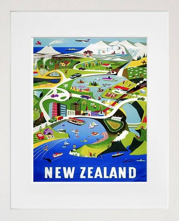 New Zealand Art Vintage Travel Poster Print Home Wall Decor
