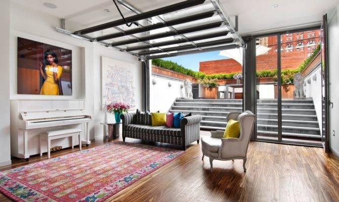 Novogratz Townhouse Living Room Garage Door Hooked Houses