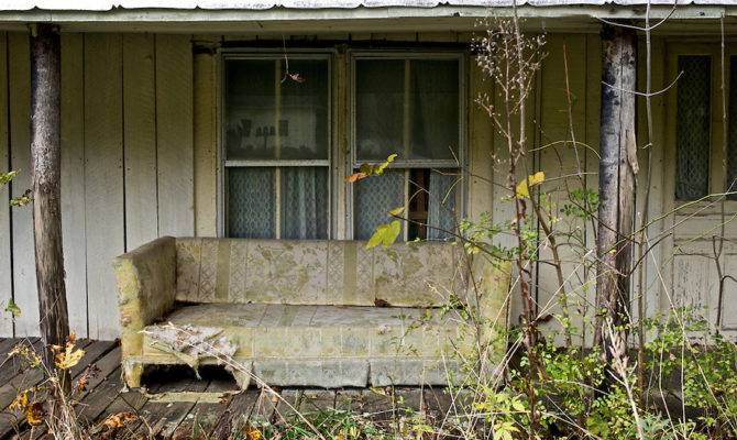 Old Couch Rests Porch Home North Carolina