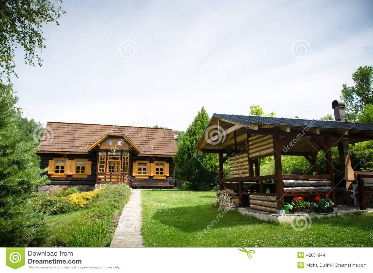 Old Fashioned European Log Wooden Cottage