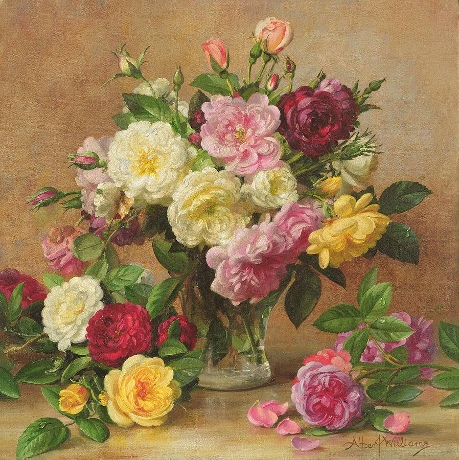Old Fashioned Victorian Roses Painting Albert Williams