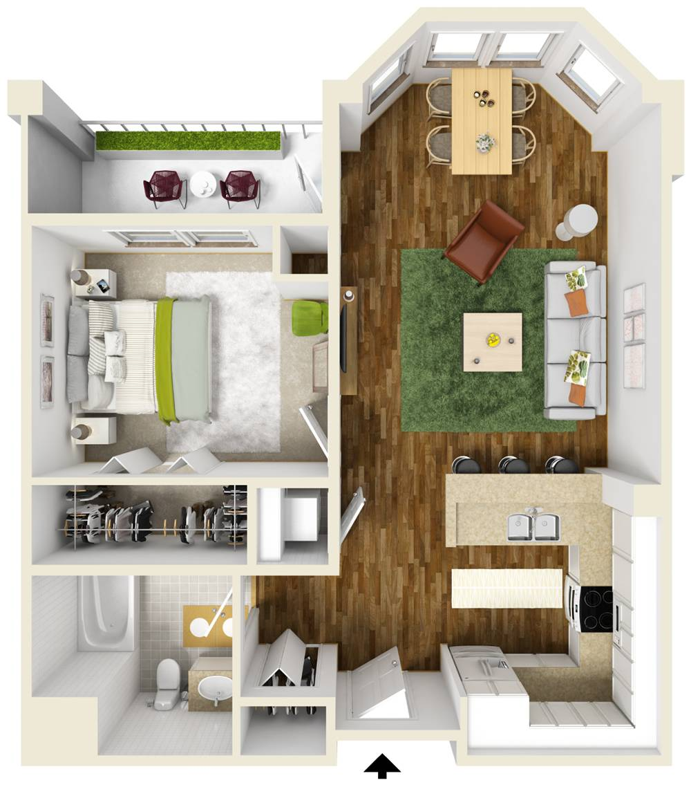 One Bedroom Apartment Floor Plans Queset Commons